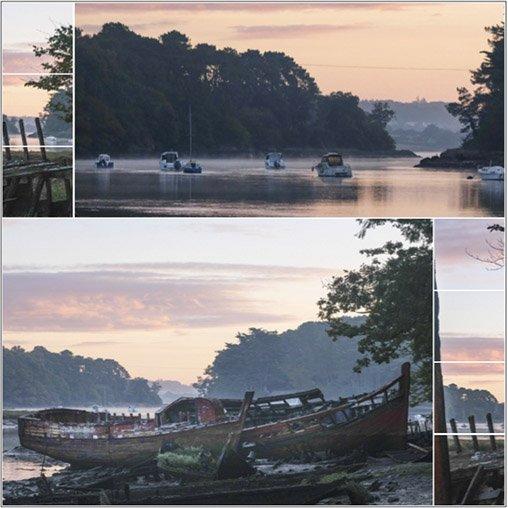 Cimetière de bateaux à l'aube – Pluneret